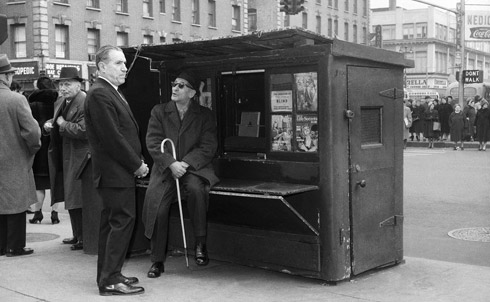 A near-empty news stand in New York City, 1963