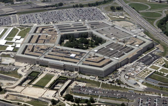 An aerial view of the Pentagon building in Washington, DC.