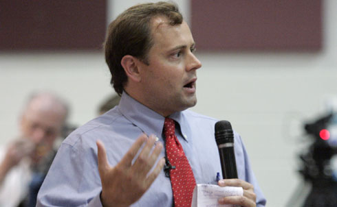 Former human rights lawyer Tom Perriello came out of nowhere in 2008 to wrestle his House seat from an experienced Republican incumbent by a tiny margin. Once unapologetically progressive, he's now struggling to keep his seat and getting desperate as his Virginia district faces a staggering 22 percent unemployment rate.He's been a prime target for Tea Party sabotage this season, both electorally and personally.  In the fight to stay in office, Perriello's politics are getting muddled—he tried to woo the Tea Party last month, he's been in hot water with his constituents already for voting against healthcare reform and in a bizarre turn of events, he even got an endorsement from the NRA.  Republican opponent Robert Hunt is pushing a big anti-tax agenda, but doesn't have unanimous Tea Party support in the district. Perriello is echoing Hurt's platform of reducing taxes and putting an emphasis on job creation. It's going to be a close race, as polls show them neck and neck. The real winner? A vocal anti-tax group that's running an aggressive campaign in the district.  Credit: APImages