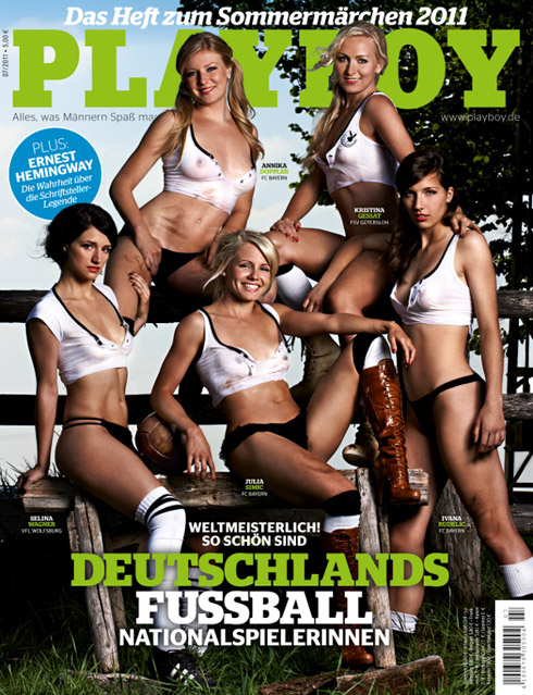 The soft pornography mode of representation, such as when world-class athletes appear semi-nude in men's magazines, simply reinforces sexual objectification of sportswomen and, as Kane's research shows, alienates and offends many sports' core fan base.  For more on the bad science—not to mention bad politics—behind the media's representation of female athletes, read Kane's article in The Nation's special sports issue.  Selina Wagner, Annika Doppler, Julia Simic, Kristina Gessat and Ivana Rudelic of the German national soccer team on the cover of Playboy  For more images from Mary Jo Kane's research, visit the website of the Tucker Center for Research on Girls & Women in Sport at the University of Minnesota.