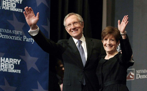 Senate Majority Leader Harry Reid narrowly won re-election in Nevada, beating Tea Party candidate Sharron Angle. As recently as early October, Angle, who supports eliminating Social Security and challenges the separation of church and state, was leading.  As Democrats managed to keep control of the Senate, Reid will remain Majority Leader.
