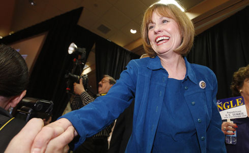 Sharron Angle's attempt to oust Nevada Senator Harry Reid is one of the tightest and ugliest races this year, complete with real-life brawling. Left-leaning voters are disappointed with how ineffective Reid has been as Senate Majority Leader on issues ranging from unemployment and financial regulation, to immigration reform, to generally having a spine. His home state is also in dire straits, with 14 percent unemployment. But many see him as the lesser of two evils, going up against his totally unhinged Tea Party opponent, Sharron Angle. She's talked about eliminating Social Security, challenging the separation of church and state and turning education and energy into entirely state-controlled issues. According to an October 5 Rasmussen poll, Angle currently leads Reid 50 to 46 percent.