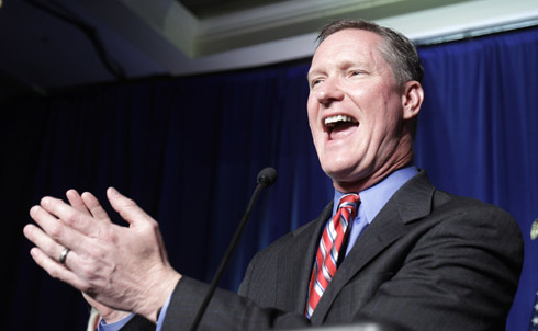 After defeating freshman Representative Mary Jo Kilroy in a purple district, Steve Stivers came to Washington and voted to dismantle Medicare by supporting the Ryan budget. As his 2012 opponent will no doubt note, during his 2008 and 2010 runs for Congress Stivers received nearly $340,000 in campaign contributions from the health insurance industry, according to the Center for Responsive Politics. During the 2010 campaign Stivers talked a great Tea Party game, suggesting that all but four federal departments (State, Defense, Justice, Treasury) be eliminated. He's going to have to bet that's still a popular message next year.  For more on the backlash against the Republicans' extreme policy proposals, read George Zornick's updates on The Notion.  Research for this slide show provided by Zachary Newkirk  Credit: AP Images