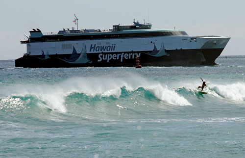 The Hawaii superferry is an environmentally hazardous boondoggle that has drawn the ire of local activists. In March, it ceased operations in the wake of a state Supreme Court ruling that the project's developers had skirted environmental laws. But according to Jerry Mander and Koohan Paik, the battle isn't over yet. (Marco Garcia/AP Images)