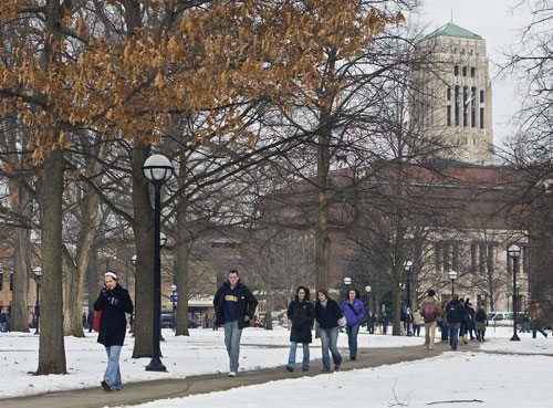 """Students walk across the University of Michigan's campus in Ann Arbor. The University was the site of the country's first """"teach-in on the environment"""" in 1970. Raymond Coffey profiled the event for The Nation, dubbing it a """"forerunner"""" and """"model"""" for the thousands of college and high school events that took place on the first Earth Day on April 22, 1970."""