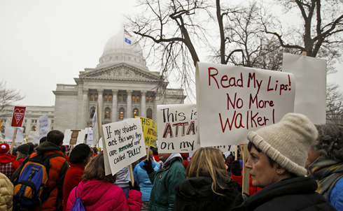 """If anybody didn't know this was coming,"" Walker proclaimed yesterday, ""they've been asleep for two years."" But Walker hadn't mentioned his plan to dismantle the collective bargaining process during his campaign, and had actually promised to work across lines of partisanship and ideology to create jobs. According to recent polls, Wisconsinites overwhelmingly oppose Walker's bill.