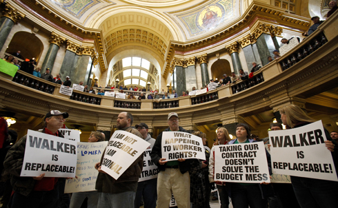 In one of the first actions of the protests, thousands of students, public employees and other Wisconsinites stormed the state's Capitol building to protest the governor's bill on Tuesday. Over the last few days the turnout has swelled into the tens of thousands. Madison and surrounding area public schools have been closed since Tuesday as teachers call in sick to attend the rallies.