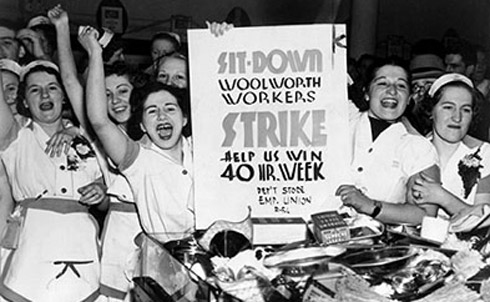 Woolworth employees in New York strike for the 8-hour day in 1937