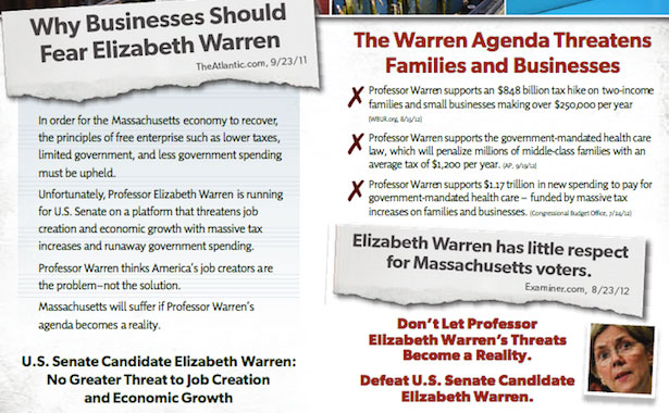 Flyer opposing Elizabeth Warren