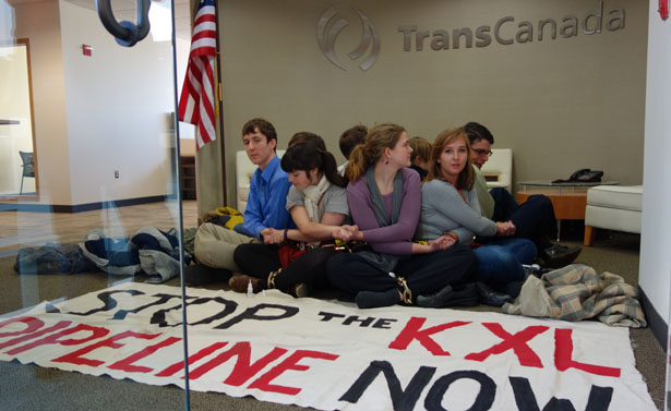 Students protest at TransCanada Corporation