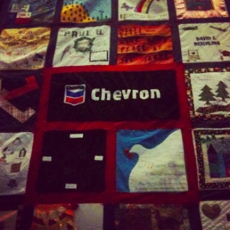Chevron logo on AIDS quilt