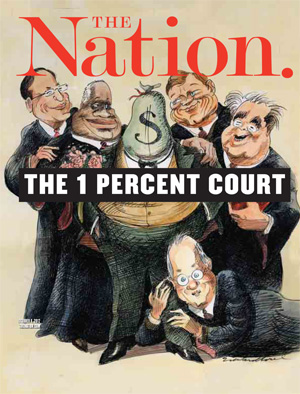 Edward Sorel cartoon cover of the five conservative judges, i.e., the 1 percent court