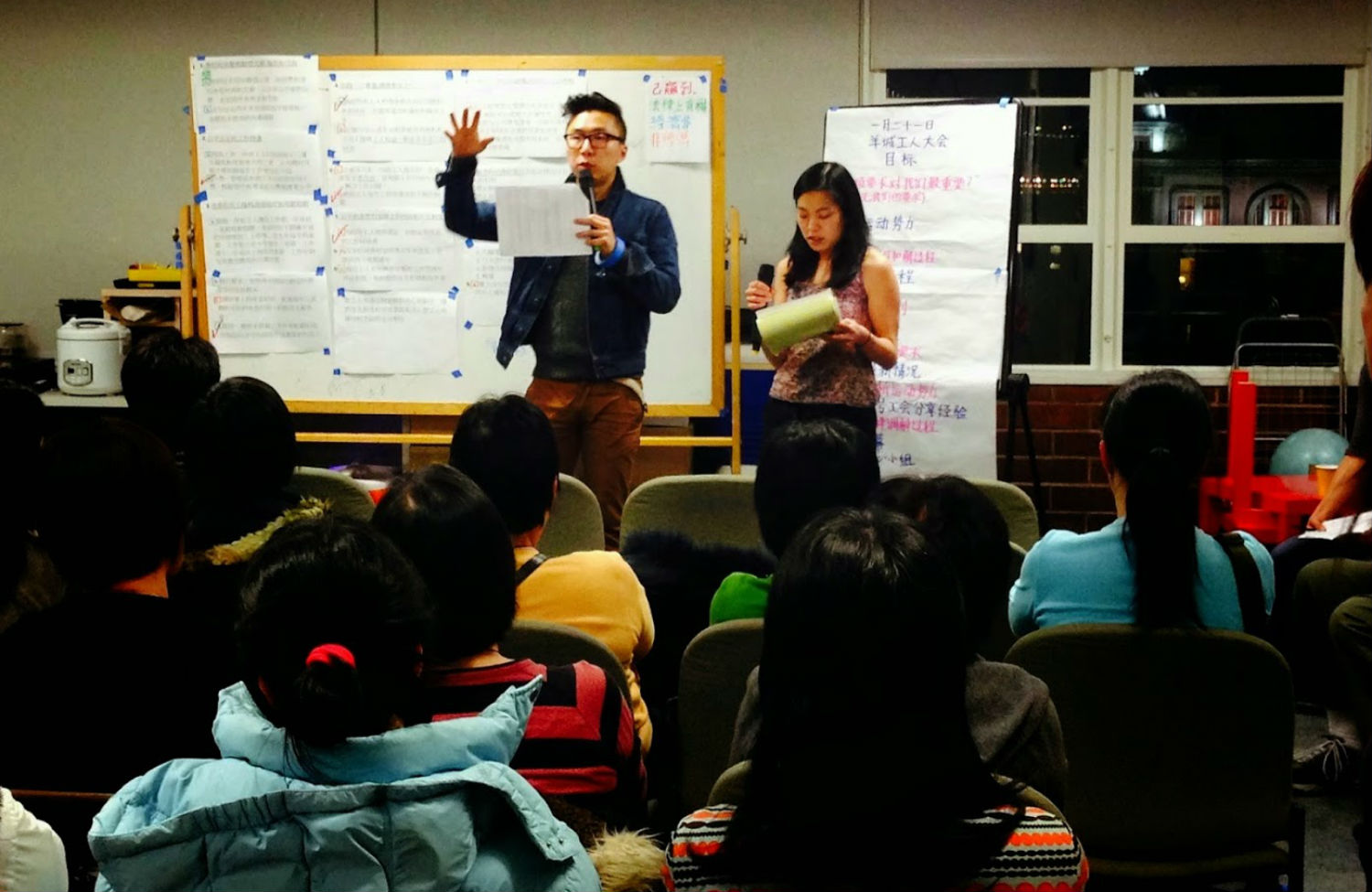 Chinese Progressive Association and Asian Law Caucus activists lead a Yank Sing worker organizing meeting. (Courtesy of CPA)