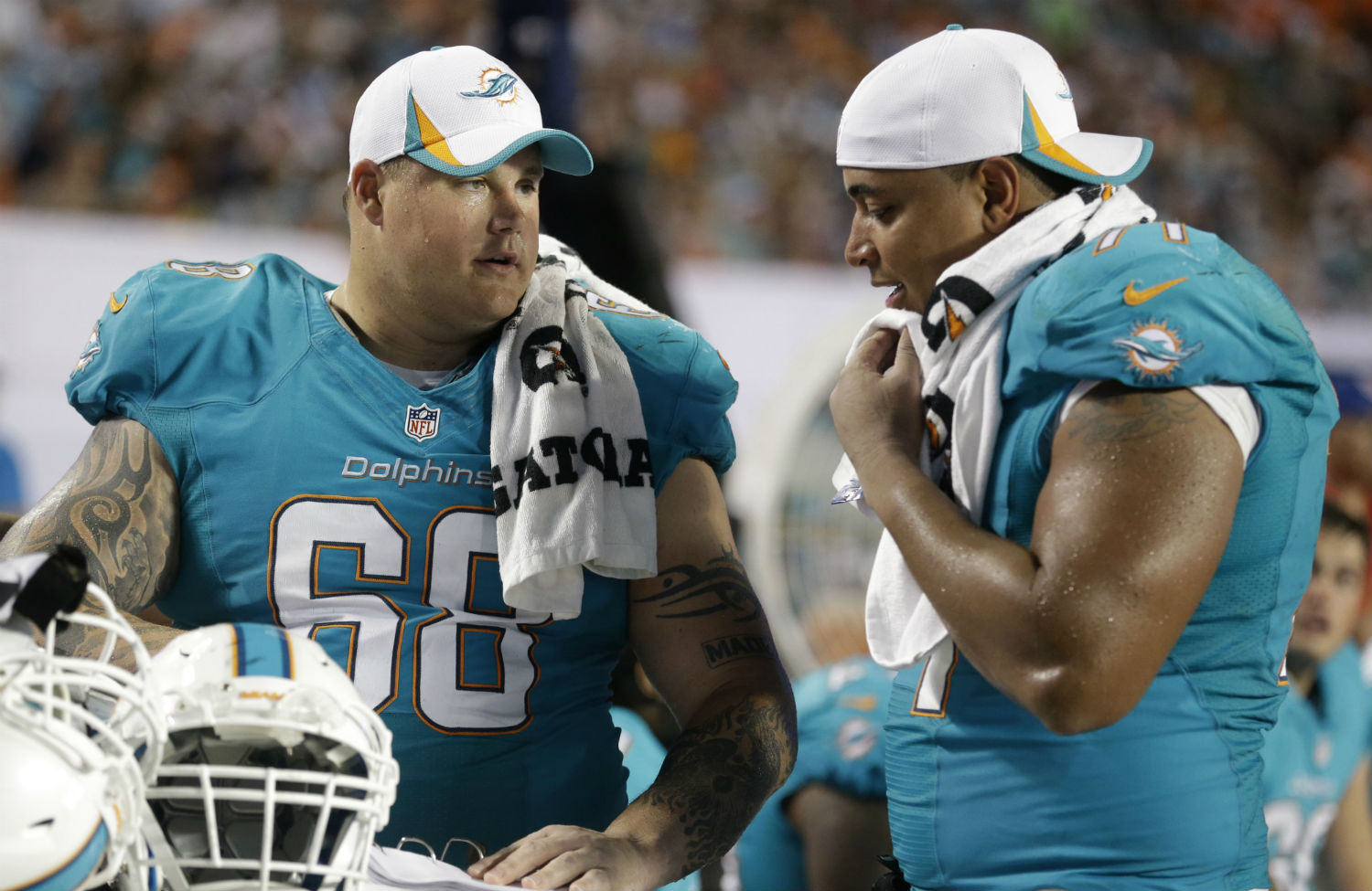 pMiami-Dolphins-guard-Richie-Incognito-left-and-tackle-Jonathan-Martin-rightp