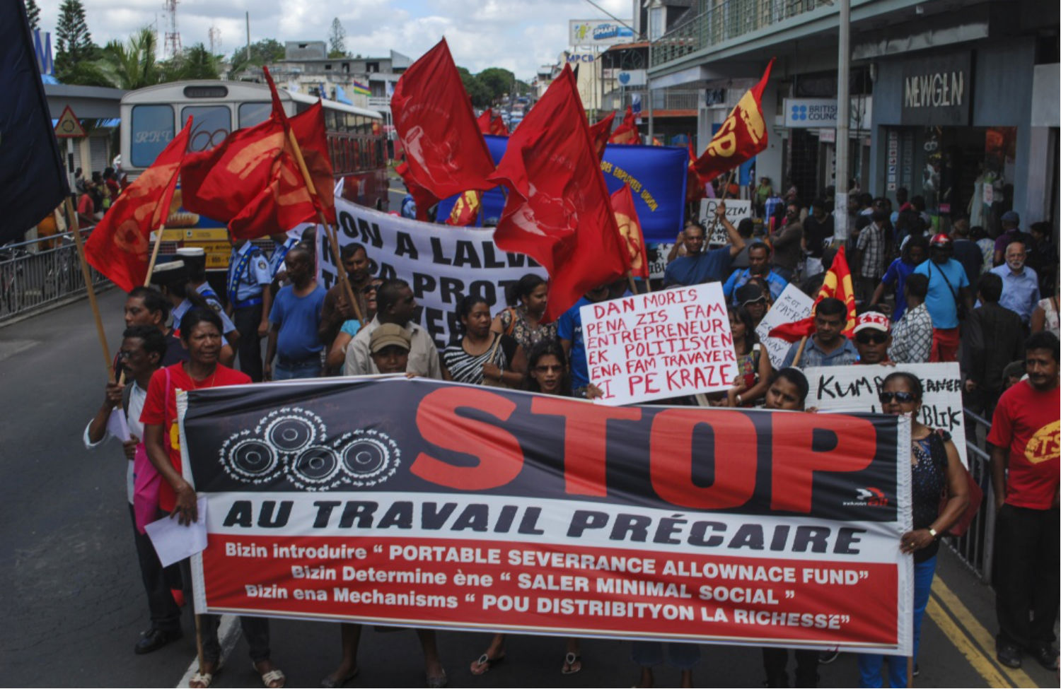 Mauritius-worker-protest