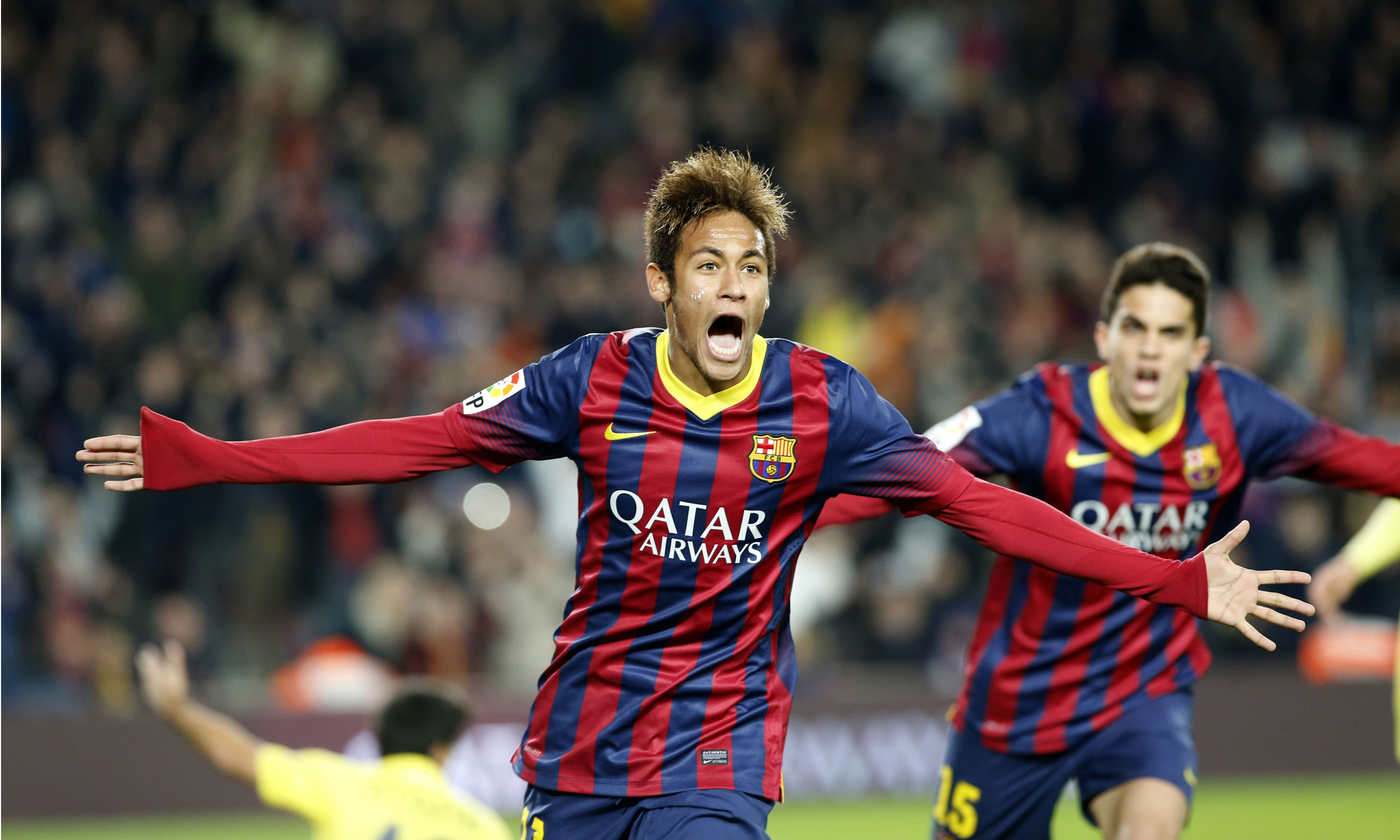 Barcelonas-Neymar-from-Brazil-celebrates-after-scoring-his-teams-second-goal-during-a-Spanish-La-Liga-soccer-match