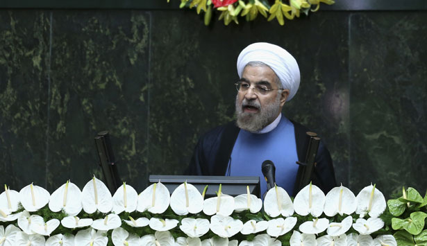 President-Hasan-Rouhani-delivers-a-speech-after-his-swearing-in-at-the-parliament-in-Tehran-Iran.-AP-Photo