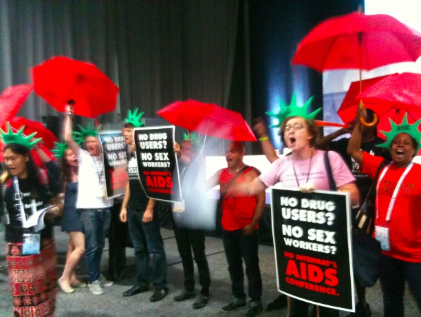 Sex workers and drug users protest AIDS conference