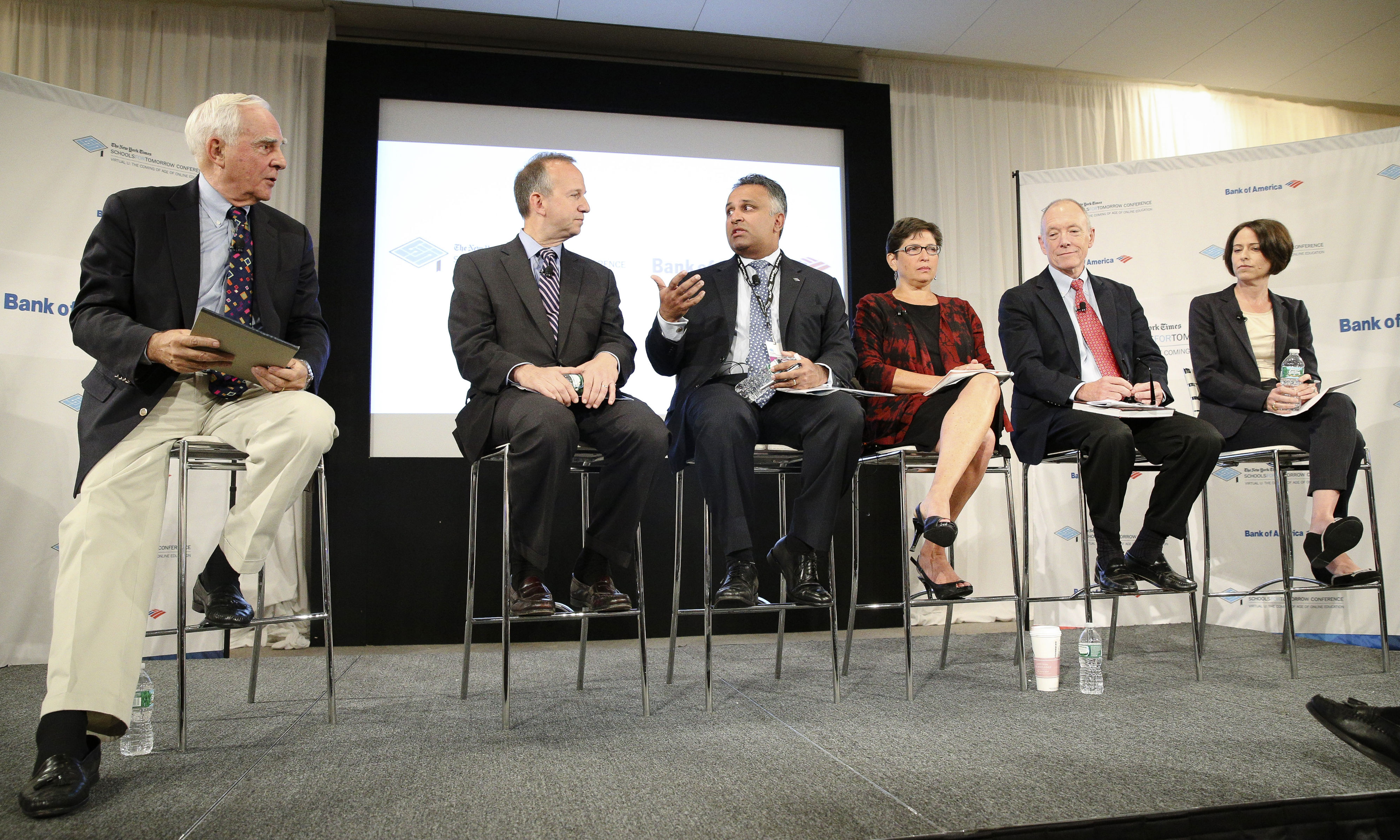 """Ted-Mitchell-then-president-and-CEO-of-the-NewSchools-Venture-Fund-attends-the-New-York-Times-""""Schools-for-Tomorrow""""-conference-panel.-AP-Photo"""