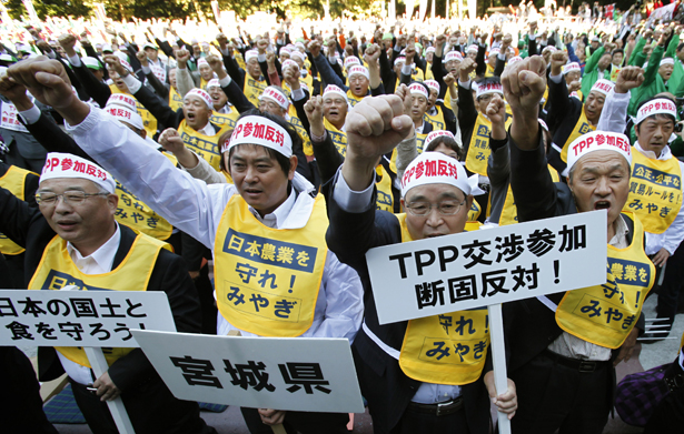 Japanese-farmers-protest-the-Trans-Pacific-Partnership