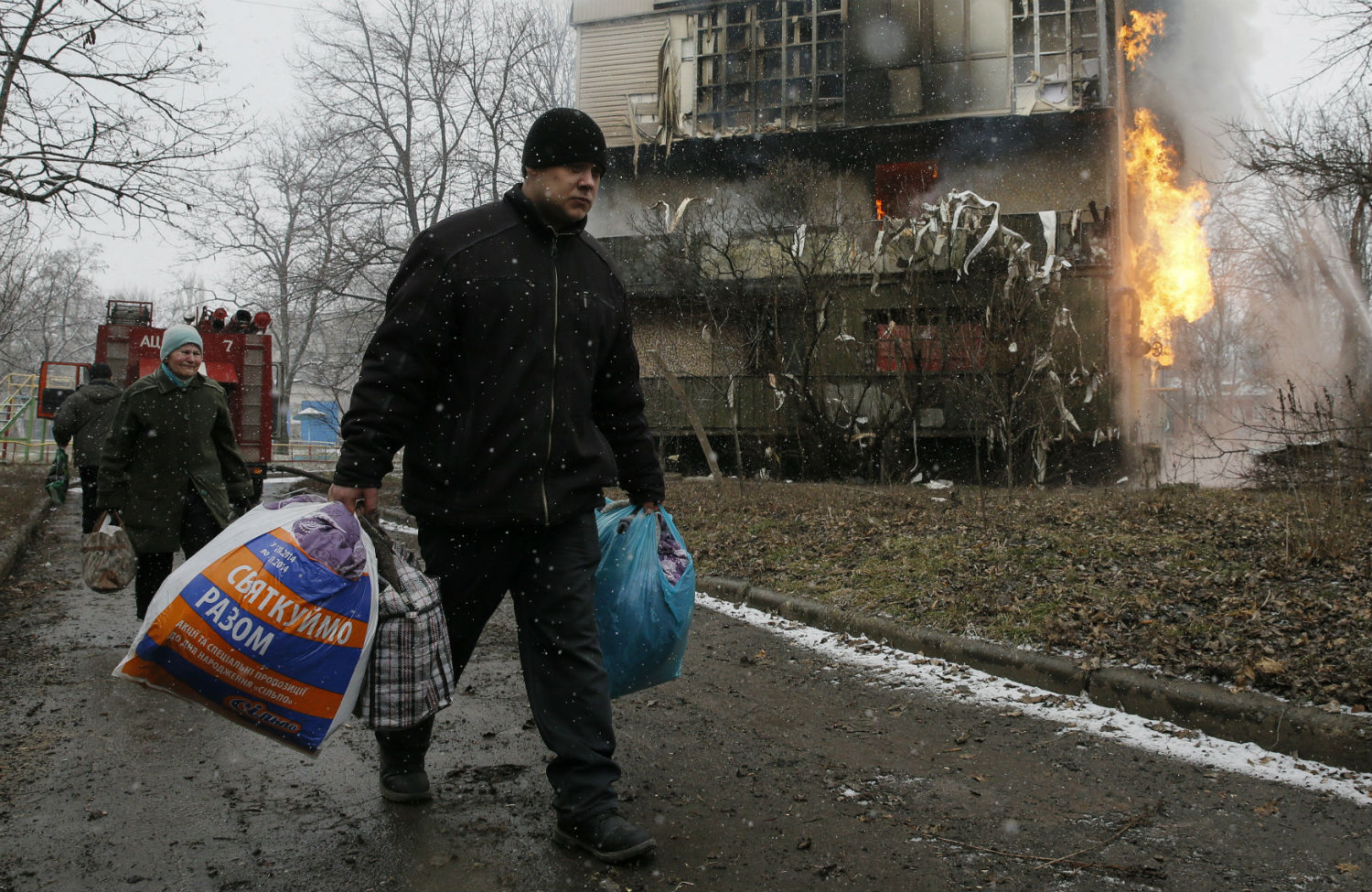 Burning-residential-block-outside-Donetsk