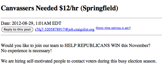 Screen shot of Craiglist posting tied to Strategic Allied Consulting