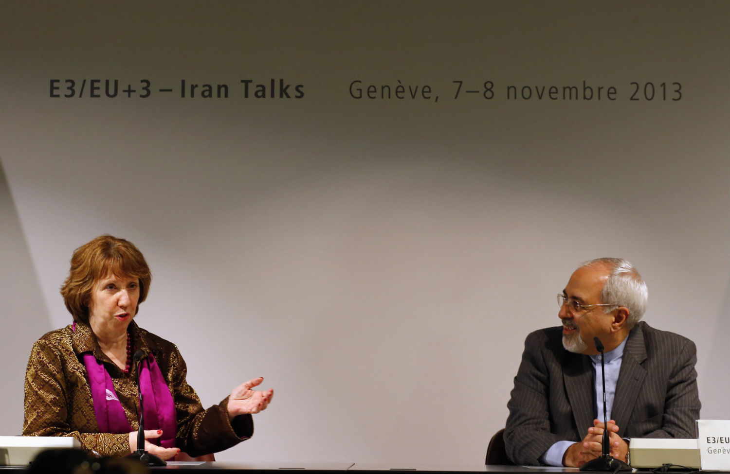 Iranian-Foreign-Minister-Mohammad-Javad-Zarif-and-European-Union-foreign-policy-chief-Catherine-Ashton-at-a-news-conference-during-nuclear-talks-in-Geneva-November-10-2013.-ReutersDenis-Balibouse