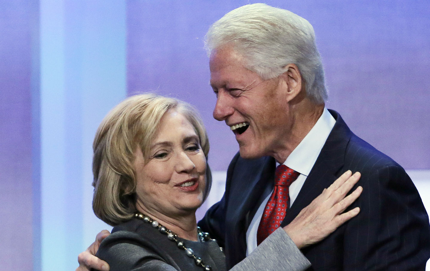if you re wondering if hillary is turning populist just ask her hillary clinton is welcomed to the stage by her husband bill clinton at the clinton global initiative in 2014 ap photo mark lennihan
