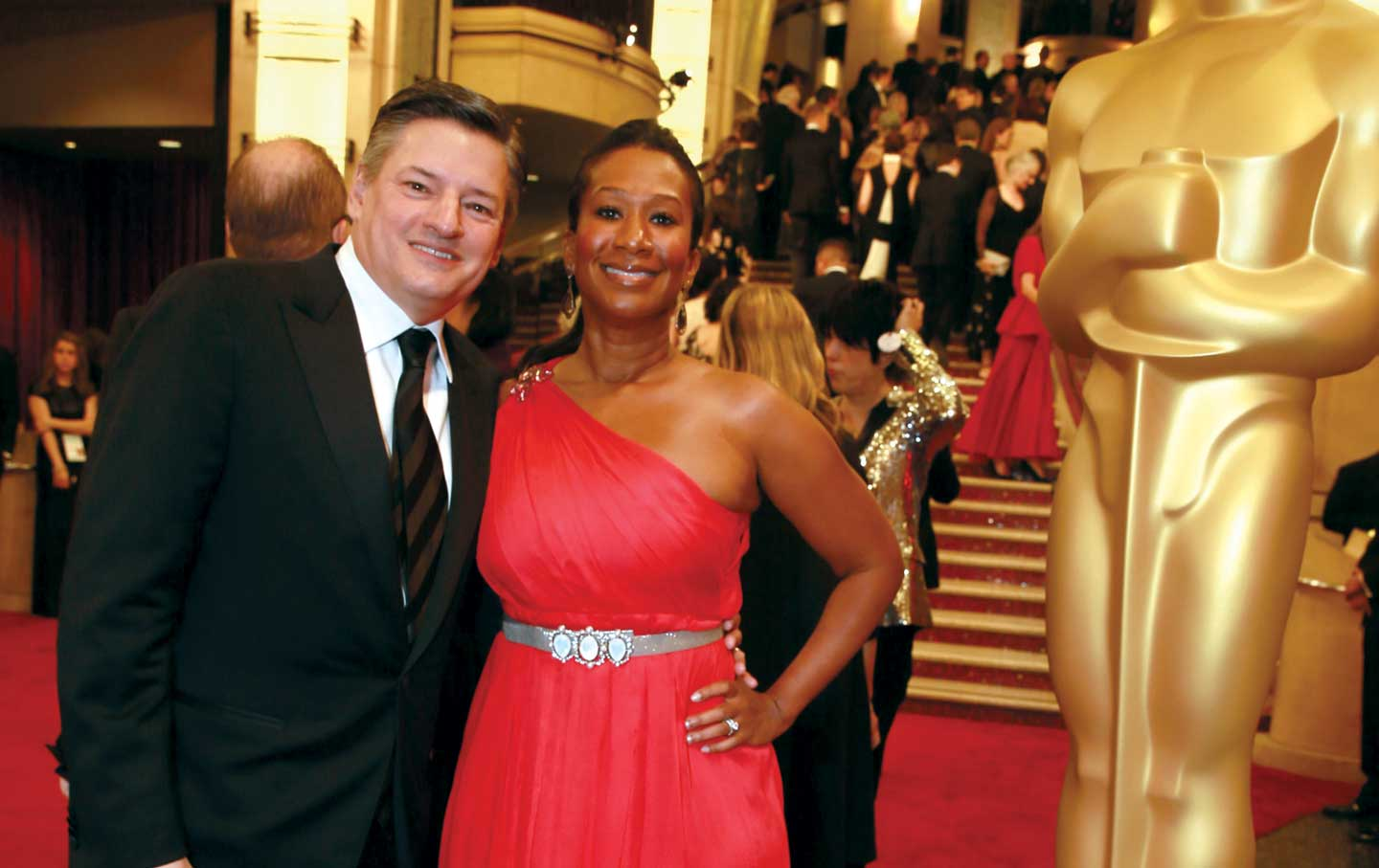 Ted-Sarandos-of-Netflix-and-Nicole-Avant-at-the-87th-Academy-Awards
