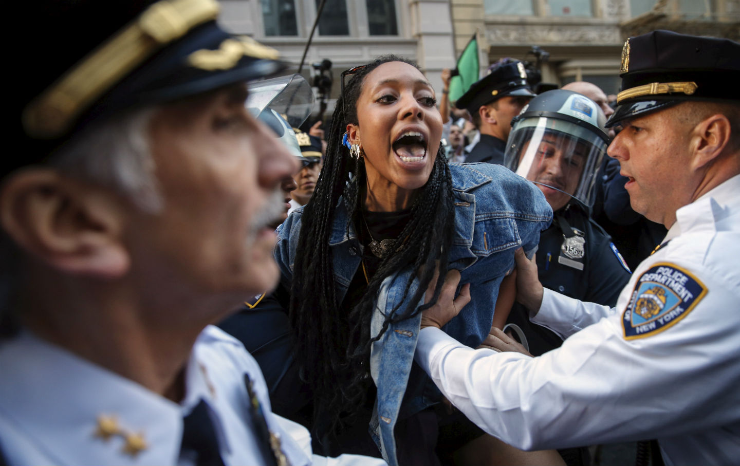NYPD-detain-a-protester
