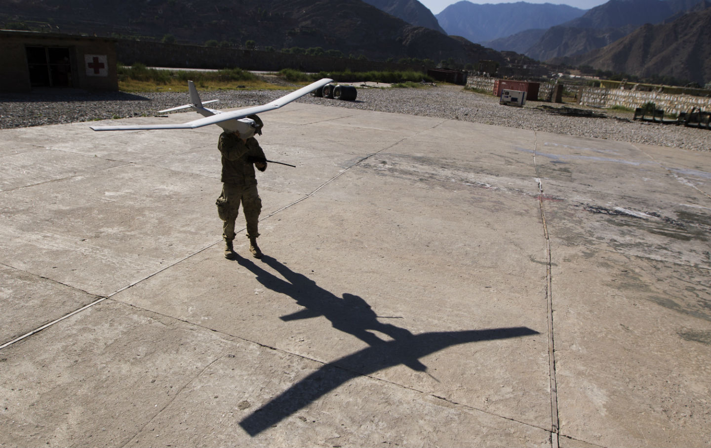 Soldier-launches-drone-in-Afghanistan