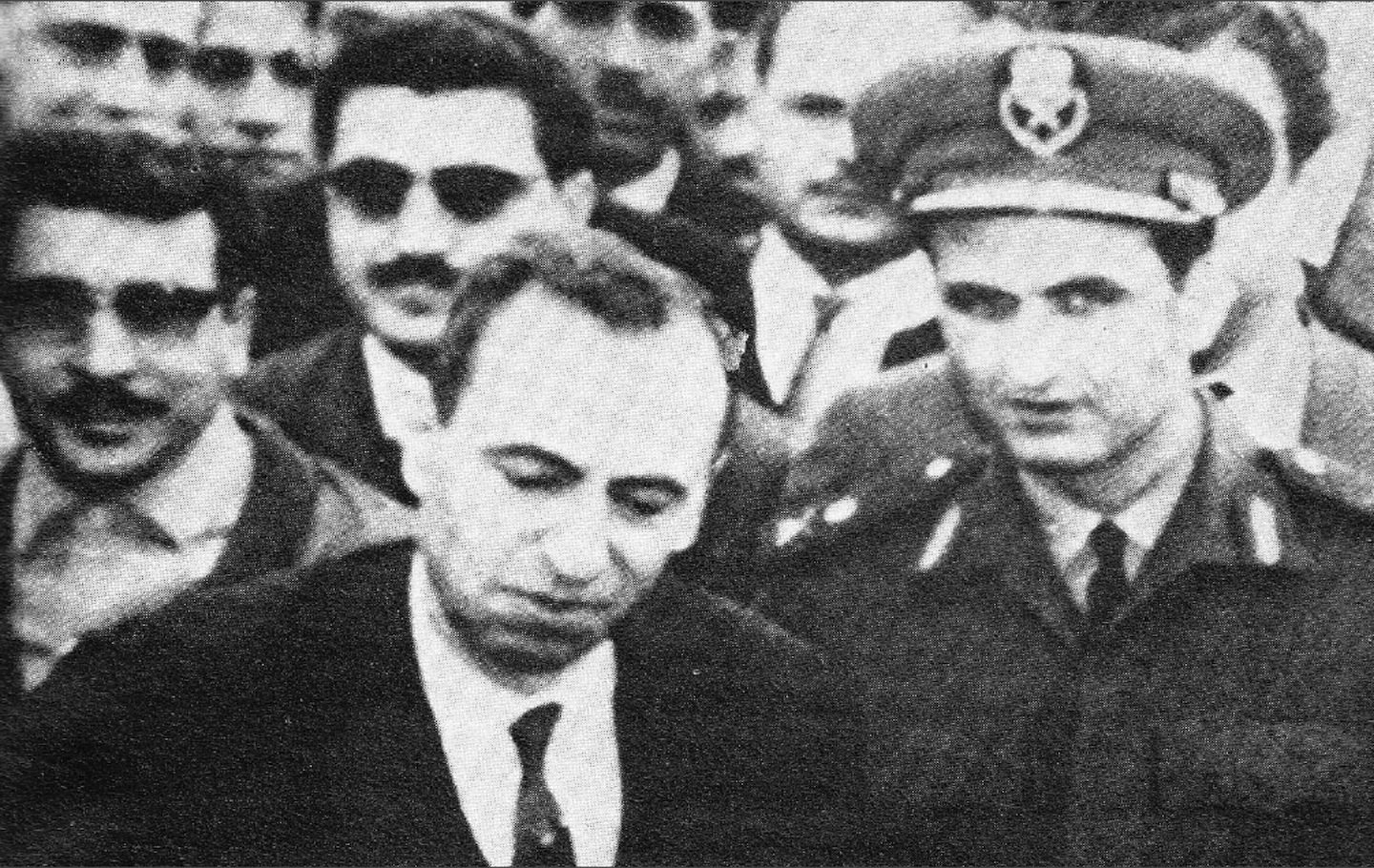 Ba'ath Party members Michel Aflaq (left) and Salah Jadid (right) in 1963,  the latter was a senior figure in planning the coup d'etat.