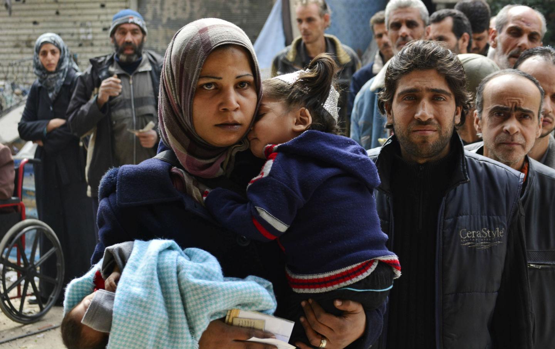 Palestinian refugees in Yarmouk refugee camp