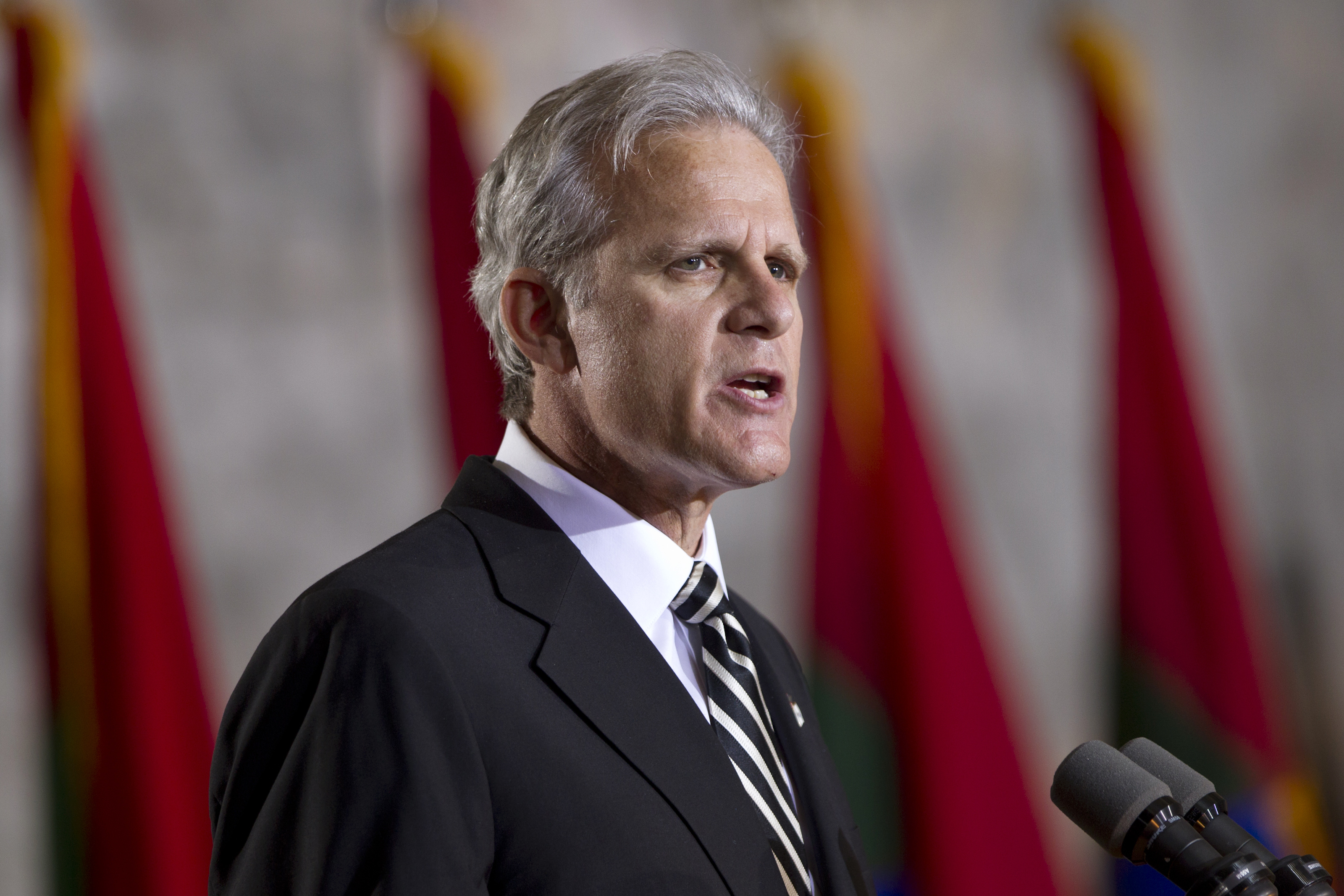 Ambassador of Israel to the United States Michael B. Oren speaks during an event to commemorate Holocaust victims and survivors in the Capitol Rotunda in Washington