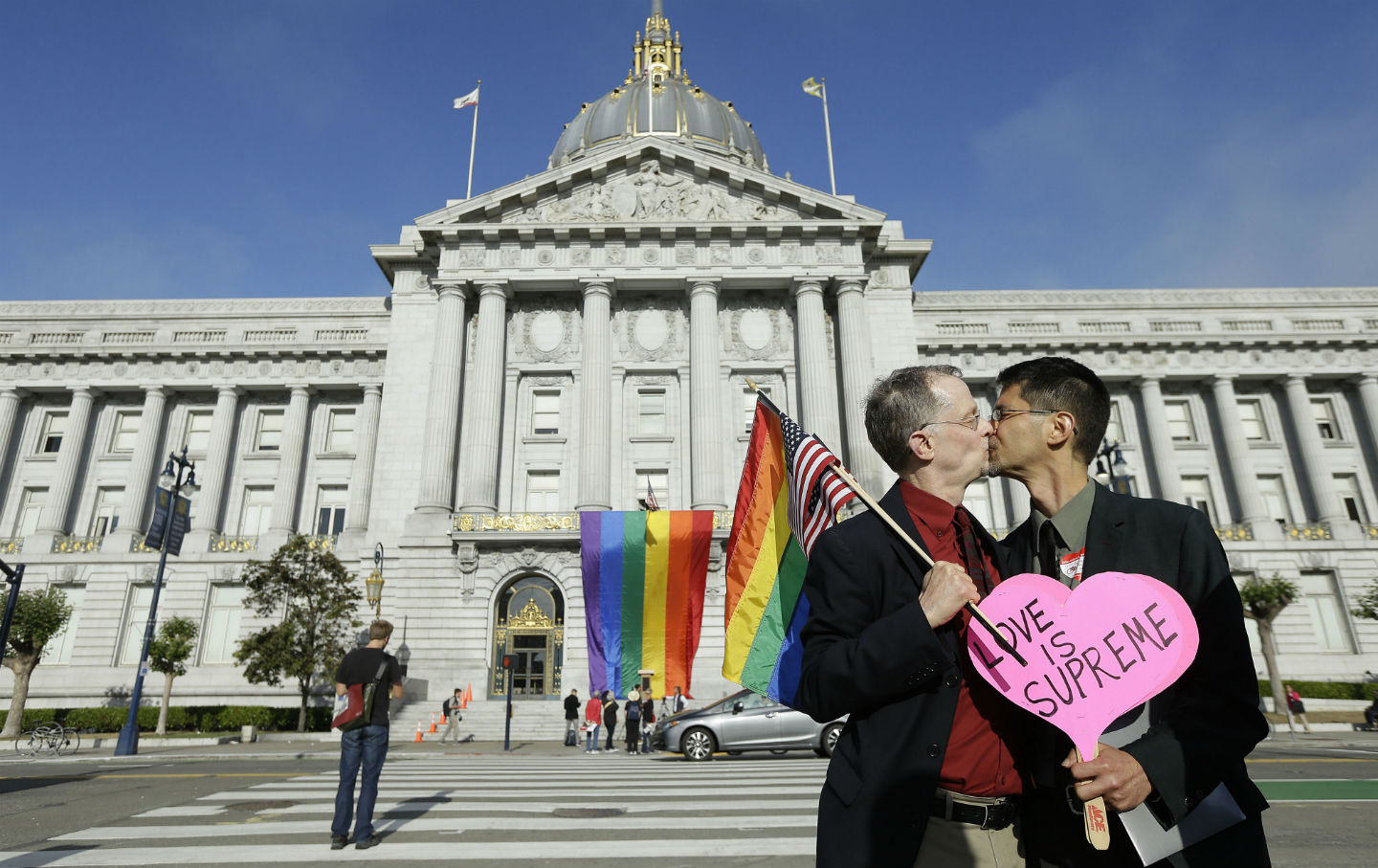 A couple celebrates SCOTUS ruling on same-sex marriage