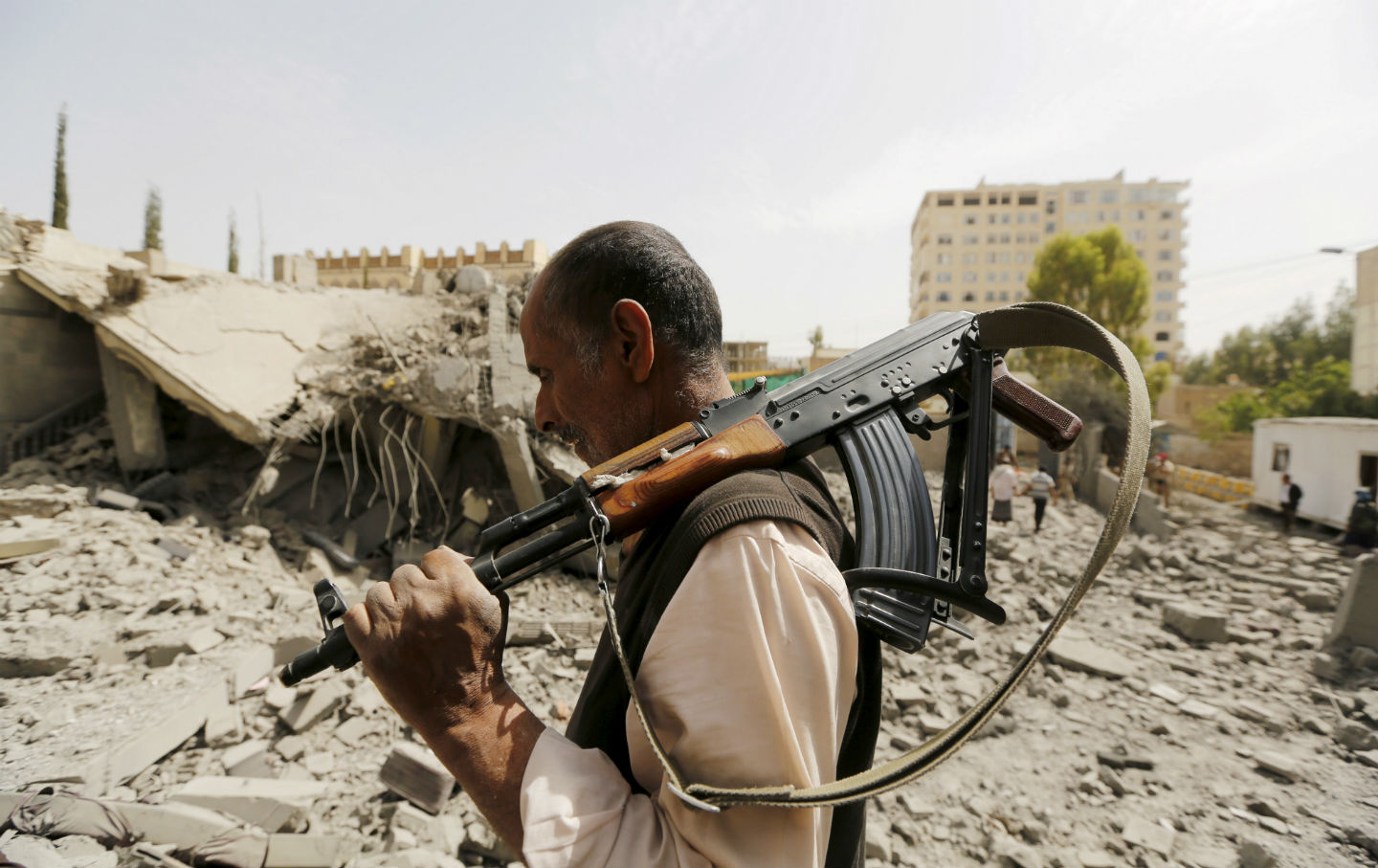 A guard in Sanaa, Yemen