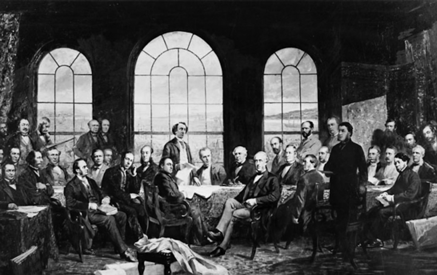 A photograph of the painting of the Quebec Conference in 1864, also known  as The Fathers of the Confederation, by Robert Harris.