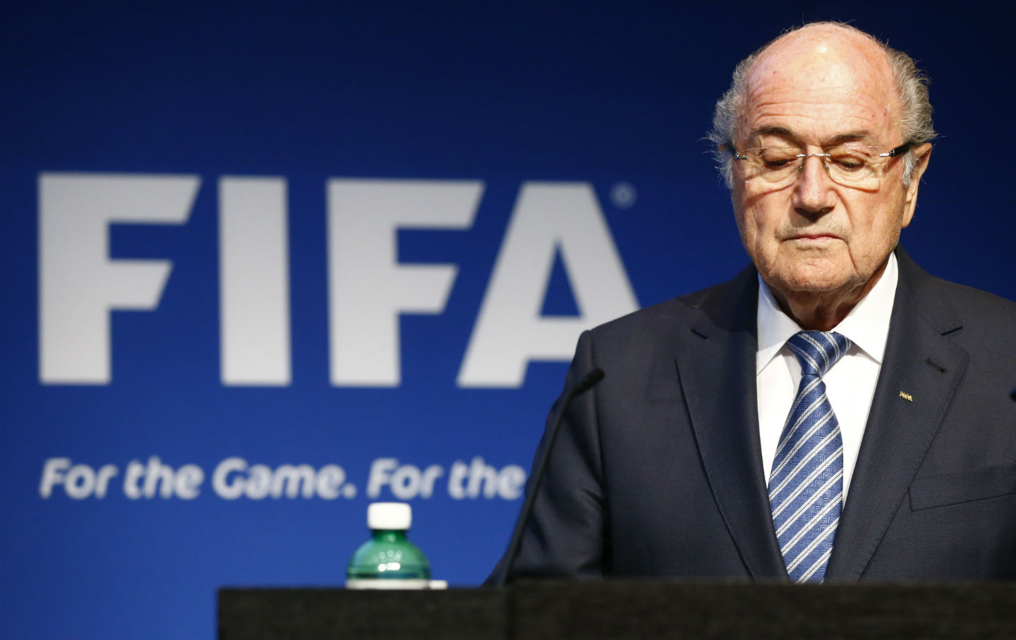 FIFA President Sepp Blatter pauses during a news conference at FIFA headquarters.
