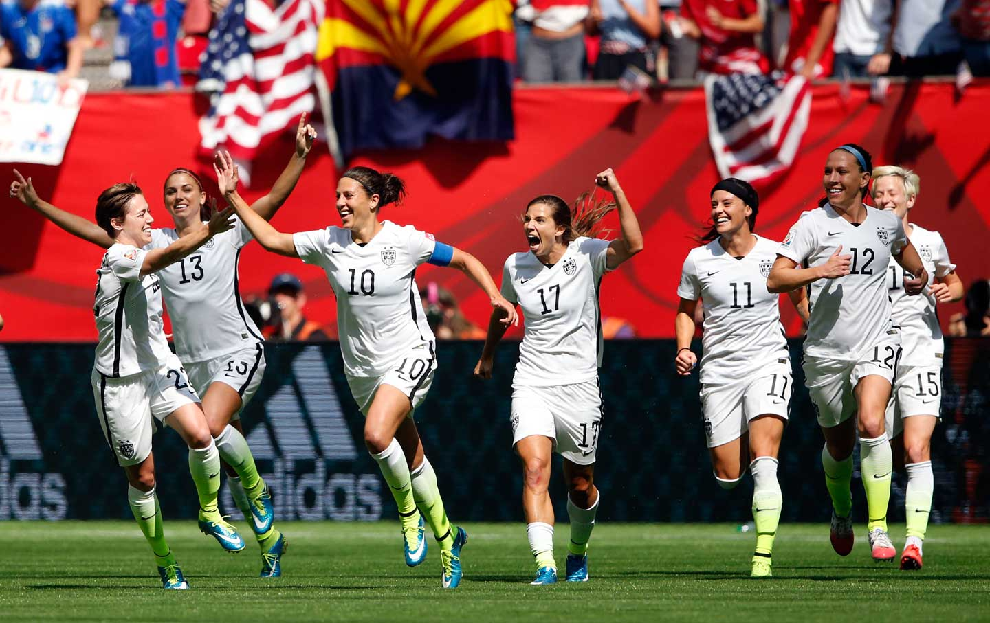 Carli Lloyd celebrates during World Cup