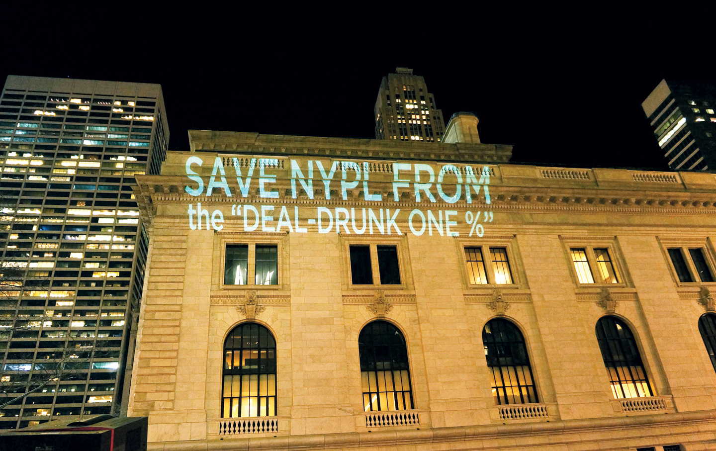 Protest at the New York Public Library, March 11, 2014.