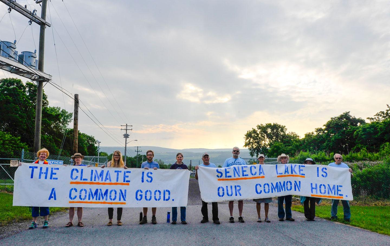 A fracking protest in Seneca Lake, New York