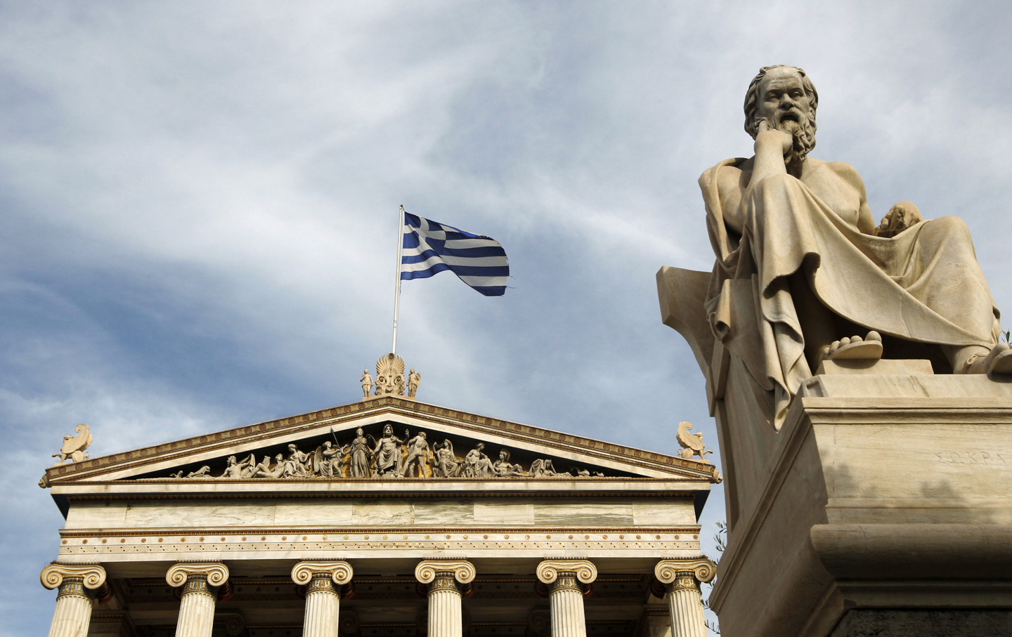 Greece flag and statue