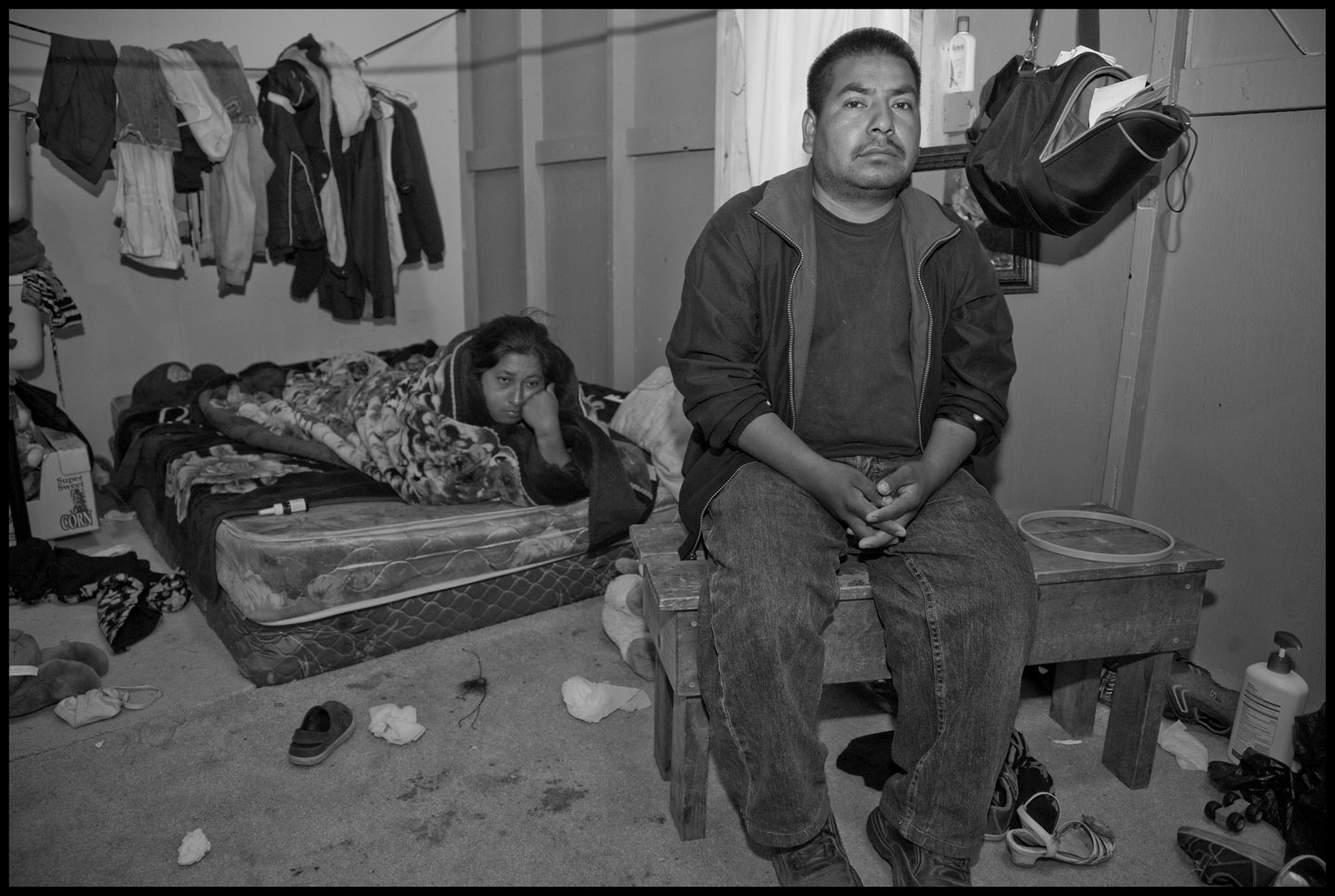 Felimon Pineda and his wife, Francisca Mendoza, in their cabin in Labor Camp #2, during the strike at Sakuma Farms, Burlington, Washington.