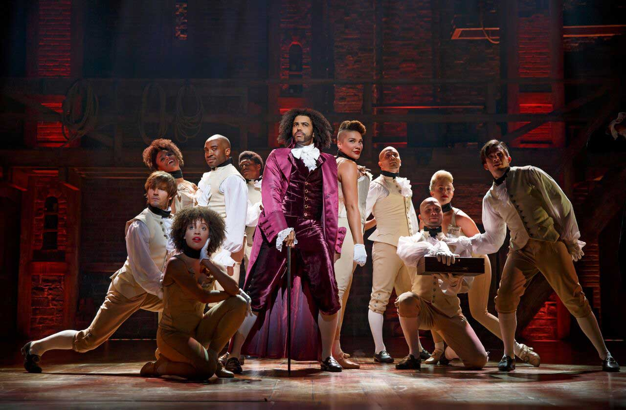 Daveed Diggs (center) as Thomas Jefferson in Hamilton. (Joan Marcus)