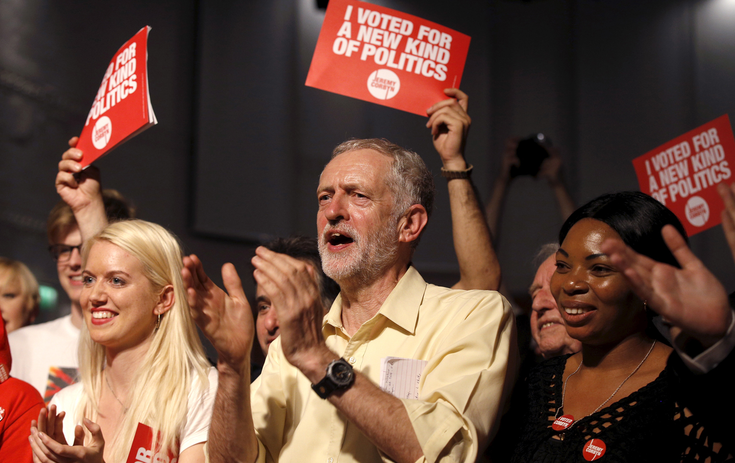 Jeremy Corbyn applauds the audience and supporters during a rally in London.