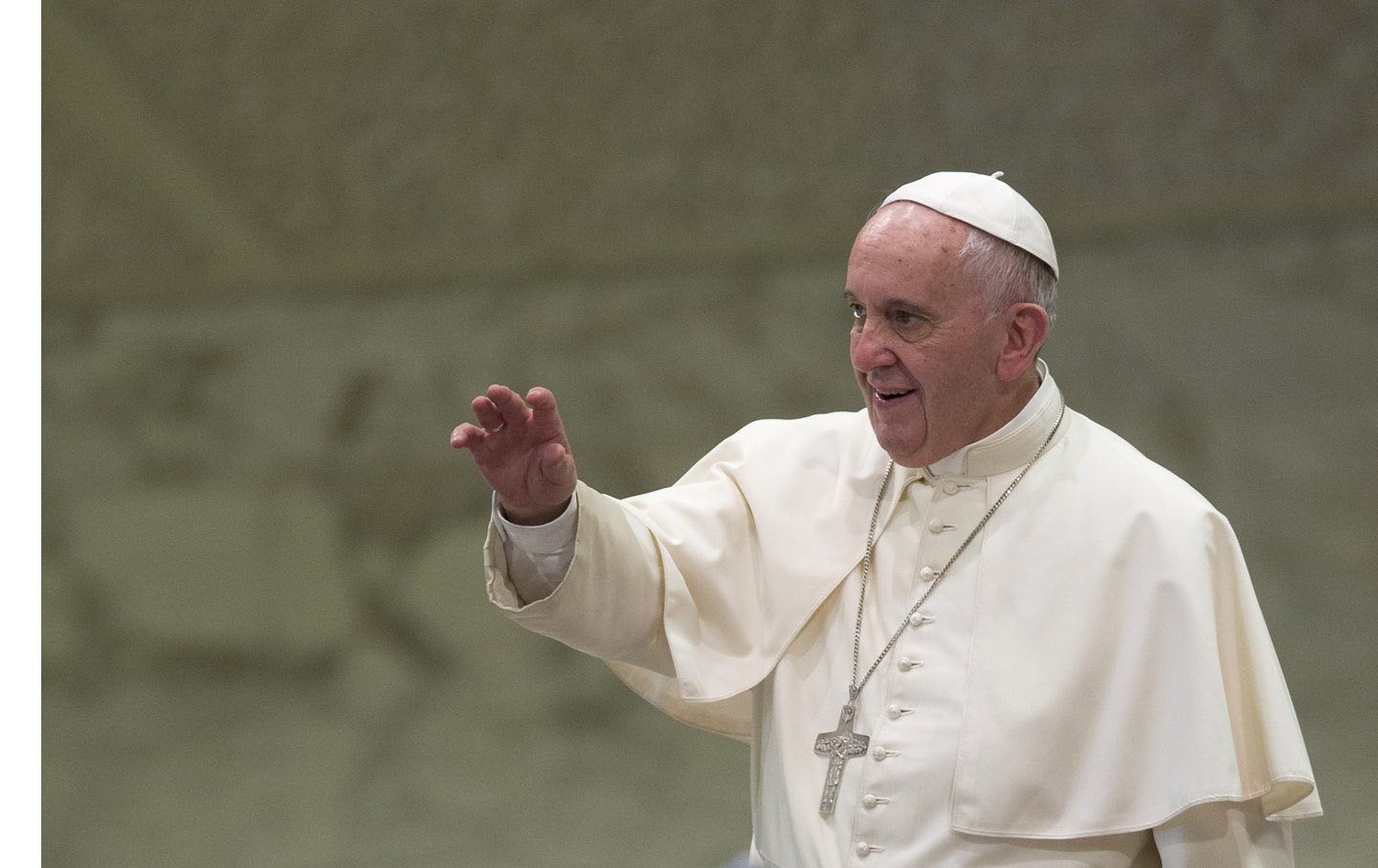 Pope Francis arrives at his weekly audience at the Vatican.
