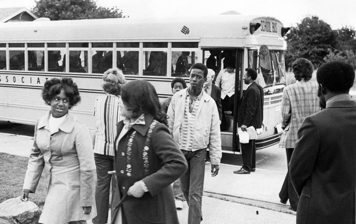 Crosstown commute: From 1978 to 1999, a busing program helped improve the racial mix in Seattle's public schools. (Credit: Museum of History & Industry, Seattle Post-Intelligencer Collection [2000.107])