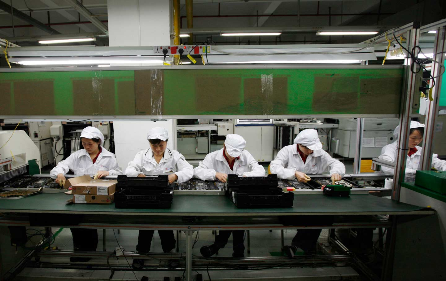 Workers in a Foxconn factory in Guangdong province, China.