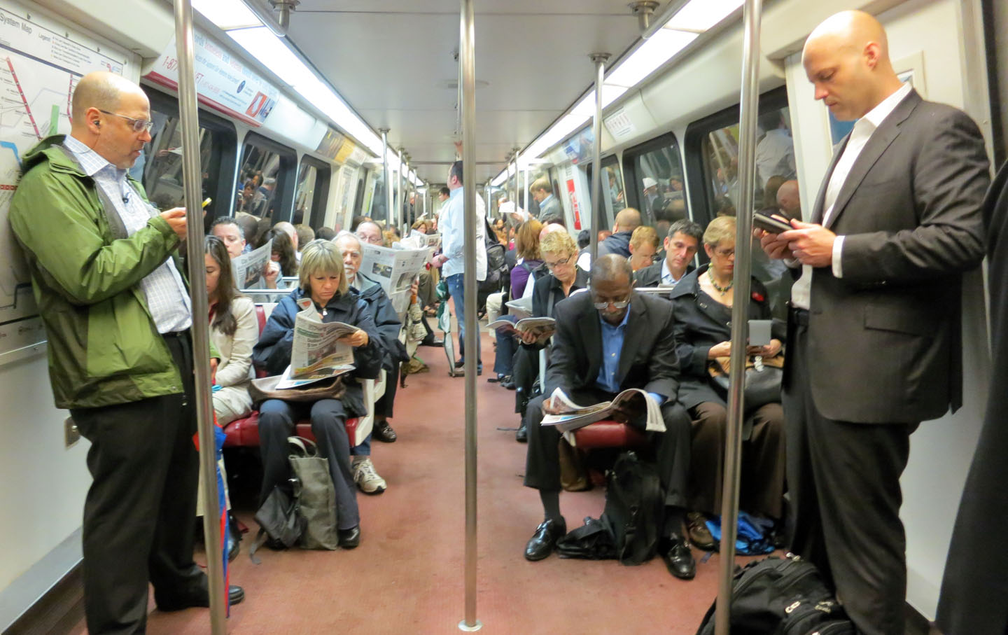 Commuters on the DC Metro.