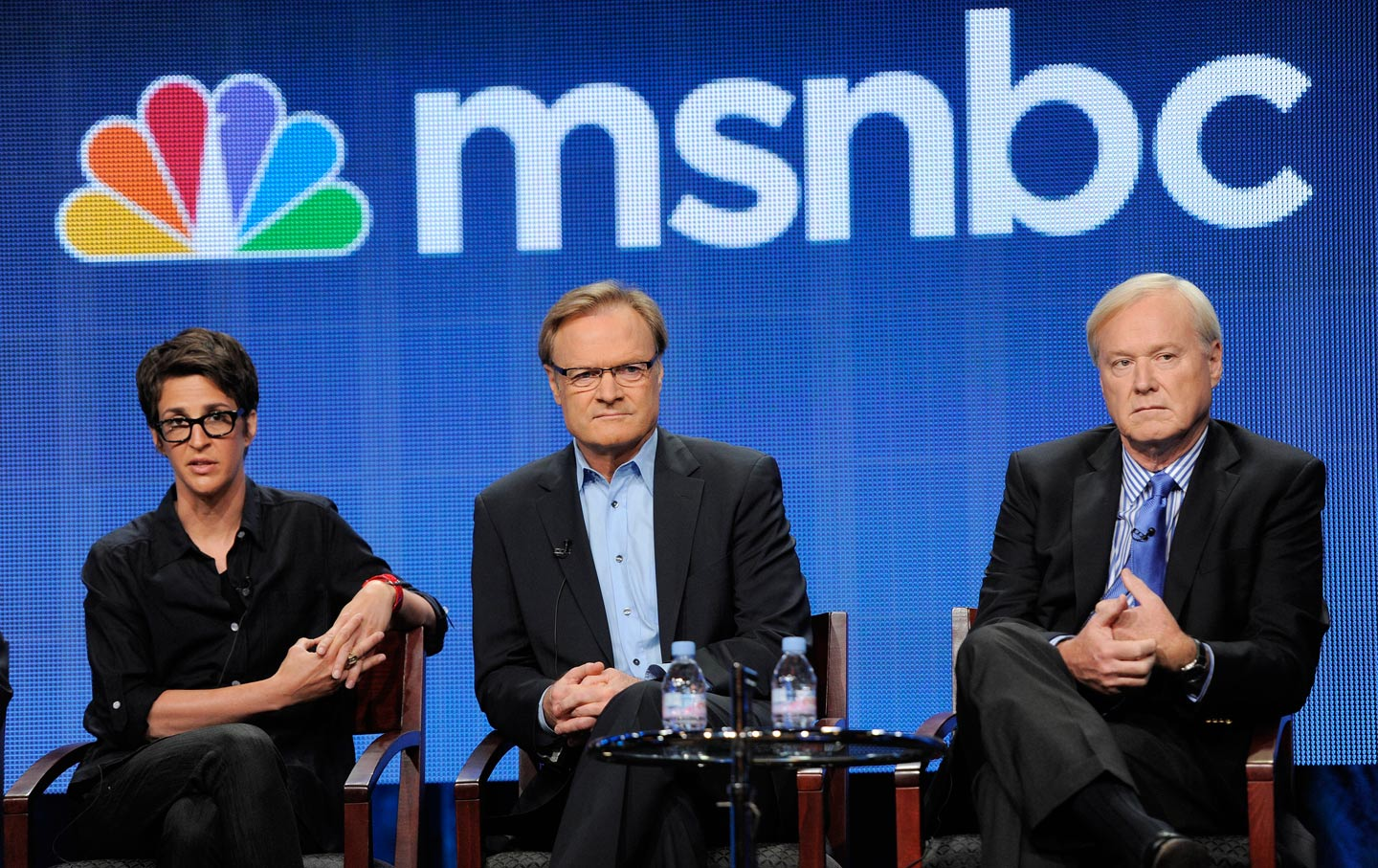 MSNBC hosts Rachel Maddow, left, Lawrence O'Donnell, center, and Chris Matthews. (AP Photo/Chris Pizzello)
